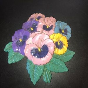 """Vintage Pansy Wall Hanging 5""""x5"""" approx"""